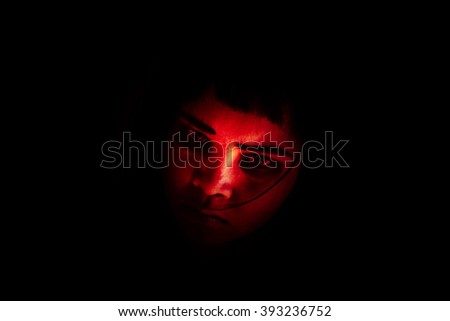 Out from the dark,Portrait of scary girl staring at cameras,Ghost girl hiding from the dark,Horror background for halloween  - stock photo