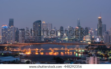 Out of focus Bangkok city