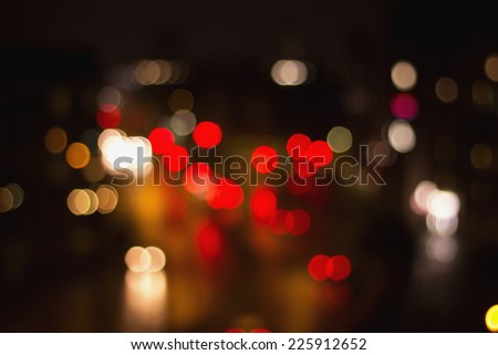 out of focus blurry street car lights ,bokeh - stock photo