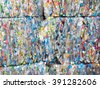 out of focus large stack of old plastic bottles - stock photo