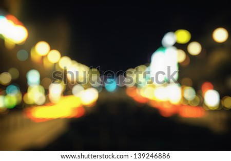 Out-of-focus shimmering city street background of Prague, Czech Republic - stock photo