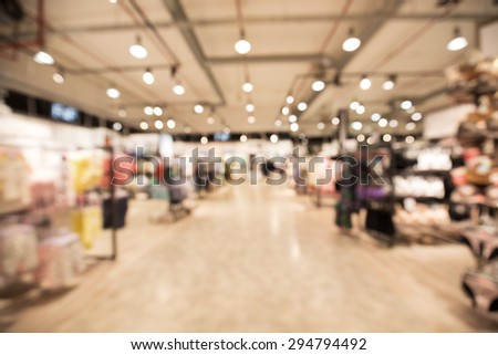 Out of focus shot of the lingerie department of a big department store - stock photo