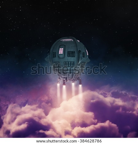 Out of the atmosphere / 3D render of spaceship rising above clouds