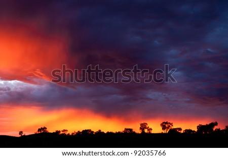 Outback sunrise over the Karijini National Park in Western Australia, Australia - stock photo