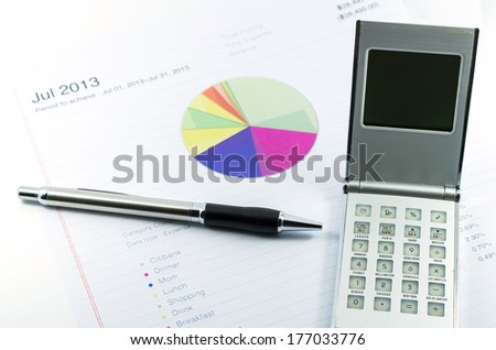 outcome statement report with calculator, pen and usd money for business - stock photo