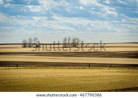outdated barn and fields in Canadian Prairies, Woodrow,Saskatchewan