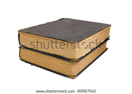 Outdated big books. Isolated on white background - stock photo