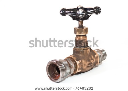 outdated water tap on a white background - stock photo