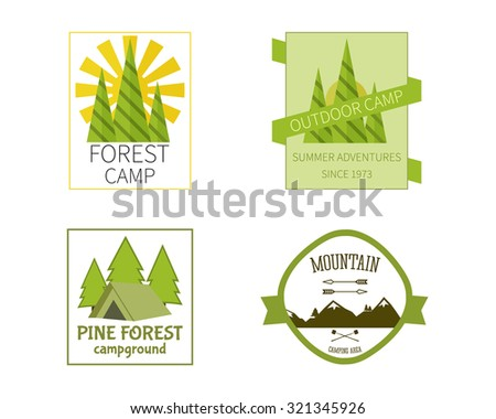 Outdoor Activity Travel Logo Vintage Labels design template. Forest holiday park, campground and campsite. Camping Badges Retro style logotype concept icons set. illustration