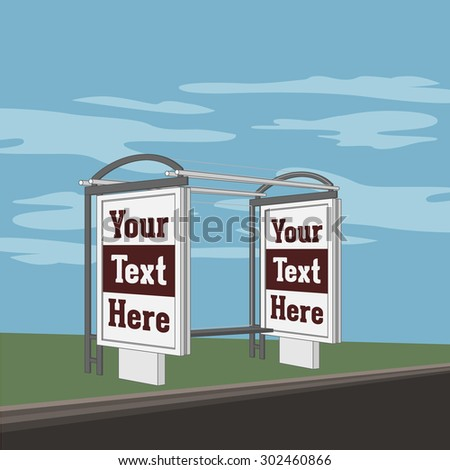 Outdoor advertising Banner Shield on the Bus Station. Illustration - stock photo