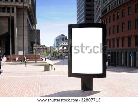 Outdoor advertising in the city - stock photo