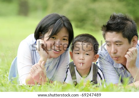 outdoor asian family portrait