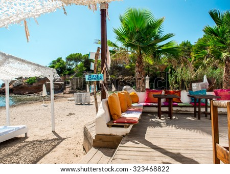 Outdoor bar on the beach of Ibiza. Balearic Islands. Spain 
