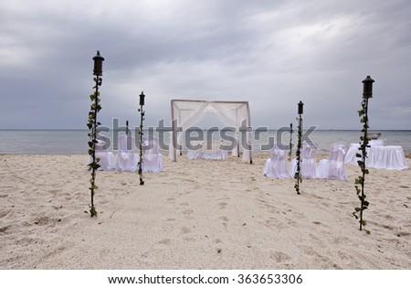 outdoor beach wedding gazebo - stock photo