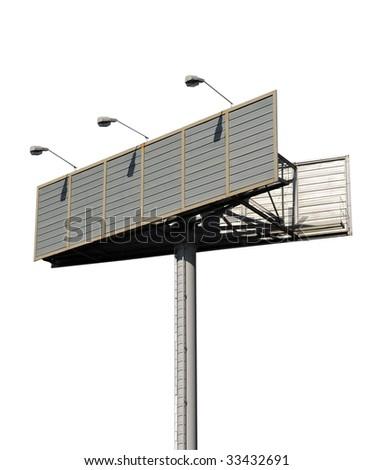 Outdoor billboard isolated on white - stock photo