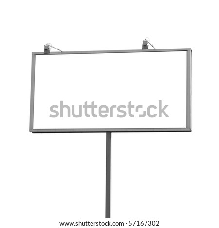 Outdoor billboard isolated white a background - stock photo