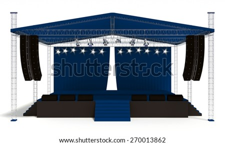 Outdoor blue concert stage isolated white background - stock photo