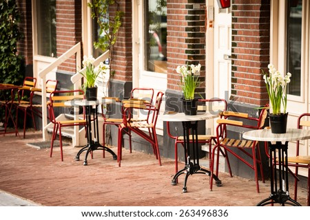 outdoor cafe in Amsterdam - stock photo