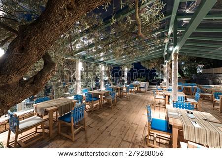 outdoor cafe restaurant - stock photo