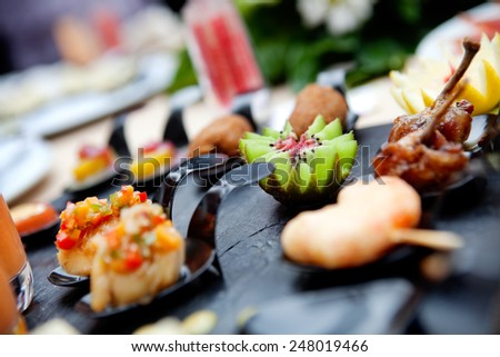 Outdoor catering. Food events and celebrations - stock photo