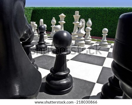 Outdoor chess board in garden with pieces - stock photo