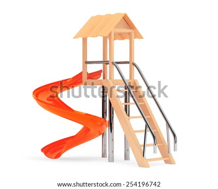 Outdoor Children Slide on a white background - stock photo