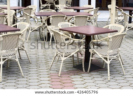 outdoor coffee tables - stock photo