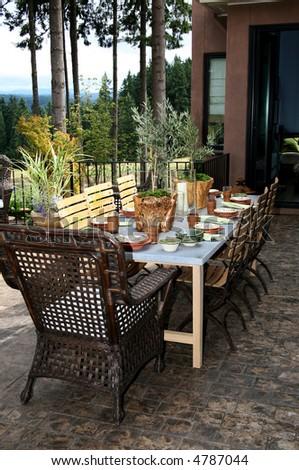 Outdoor Dining Room  set Beautifully - stock photo
