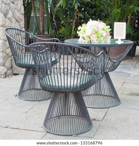 Outdoor Furniture and Table On Terrace - stock photo