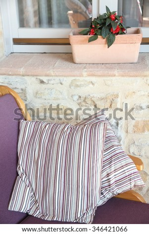 Outdoor furnitures in terrace