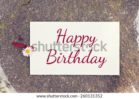 outdoor greeting card with text - happy birthday - stock photo