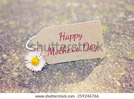 outdoor greeting card with text - happy mothers day - stock photo