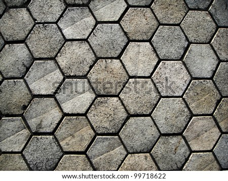 outdoor hexagonal stones - stock photo