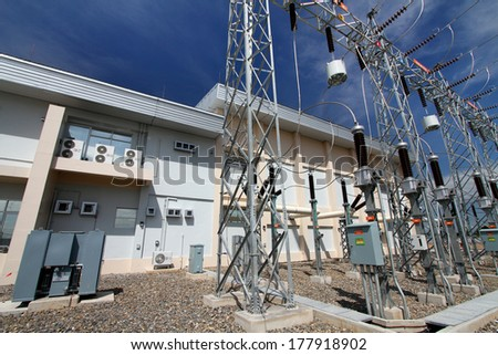 Outdoor high voltage switchgear in substation, Thailand