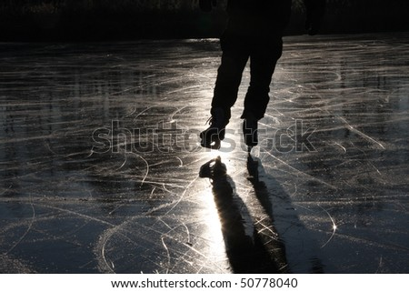 Outdoor Ice skating - stock photo