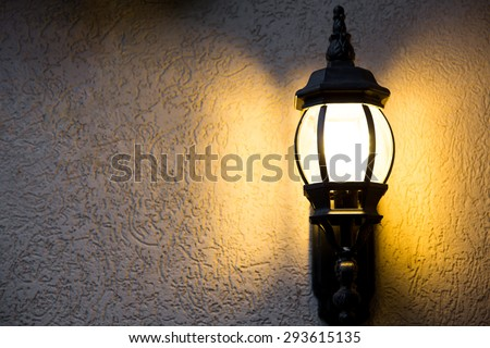 Outdoor light fixture on dark on stock photo 293615135 shutterstock outdoor light fixture on in the dark on a textured background aloadofball Images