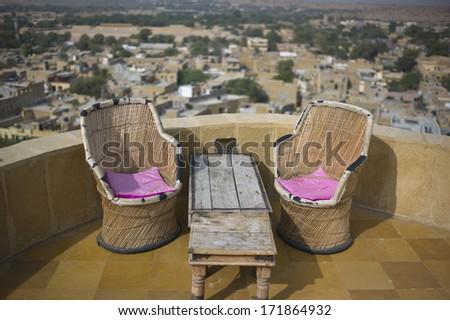 Outdoor lounge in Jaisalmer Fort - stock photo