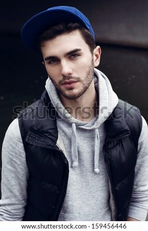 outdoor male portrait - stock photo