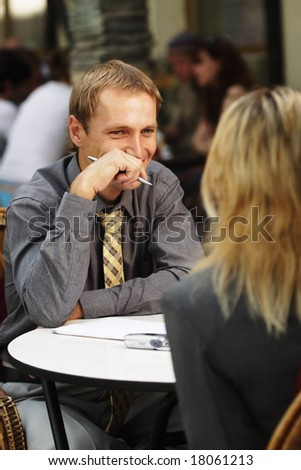 outdoor meeting - stock photo