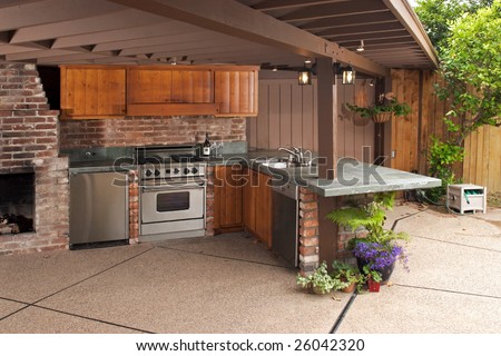 Outdoor modern kitchen that has been freshly remodeled