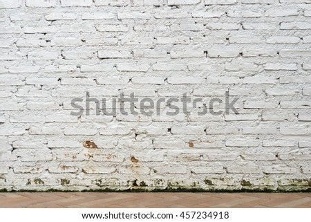 Outdoor Old White Brick Wall Background