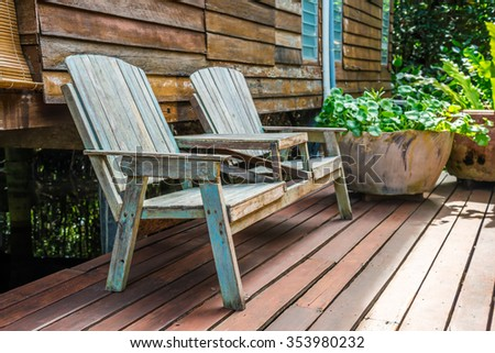 Outdoor old wooden Bench - Selective focus - stock photo