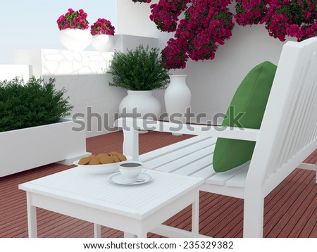 Outdoor patio seating area with white wooden furniture.