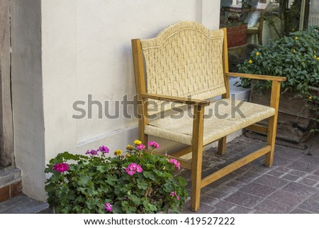 Outdoor patio seating with nice bench chairs at sunset