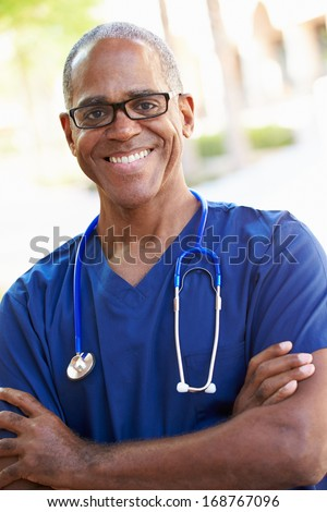 Outdoor Portrait Male Nurse - stock photo