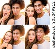 Outdoor portrait of  cheerful  young international couple shoes crazy  faces .  Friends having fun , emotional people, making self portrait. Collage. - stock photo