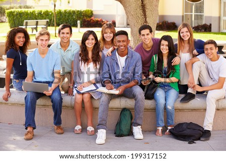 Outdoor Portrait Of High School Students On Campus - stock photo