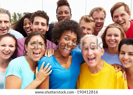 Outdoor Portrait Of Multi-Ethnic Crowd - stock photo