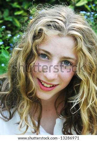 outdoor portrait of pretty teenage girl - stock photo