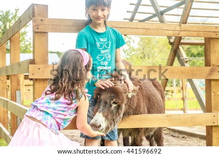 outdoor portrait of young happy young girl and boy feeding donkey on farm - stock photo
